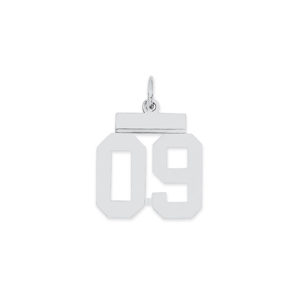 Sterling Silver Small Polished Number 09 w/Top Bar Charm