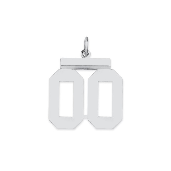 Sterling Silver Medium Polished Number Double 00 With Top Charm