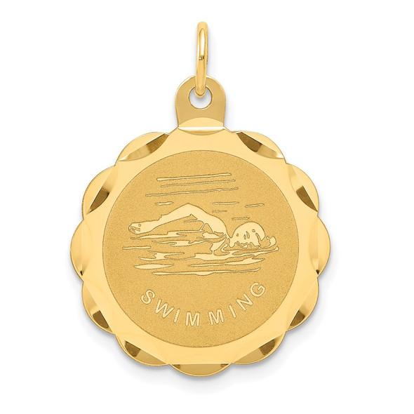 14k Yellow Gold Swimming Disc Charm