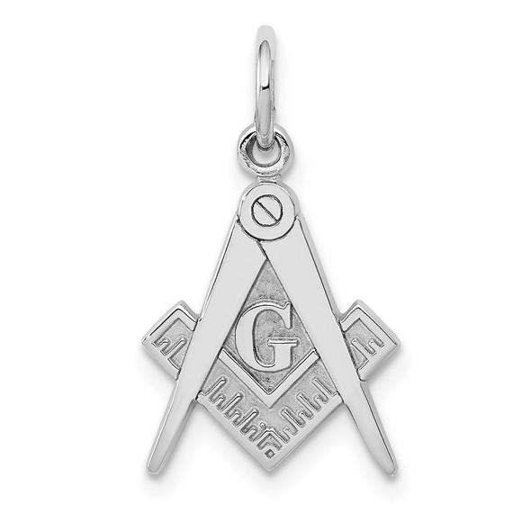 14K White Gold Polished Masonic Charm