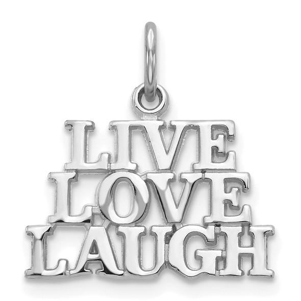 14K White Gold Polished Live Love Laugh Charm