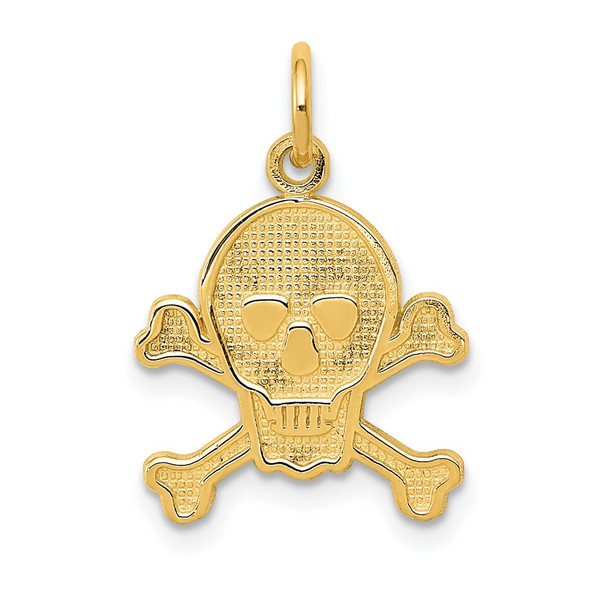 14k Yellow Gold Skull and Bones Charm