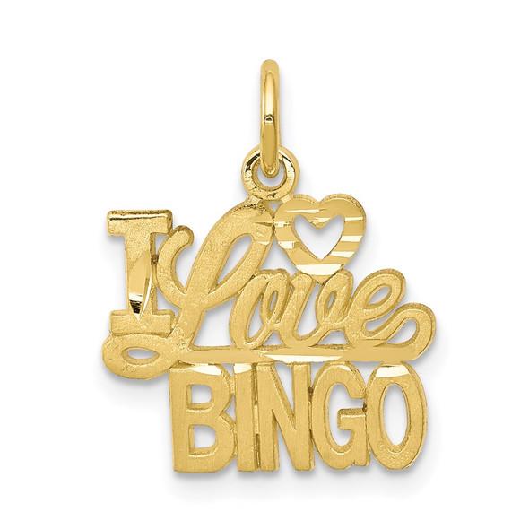 10k Yellow Gold I LOVE BINGO Charm