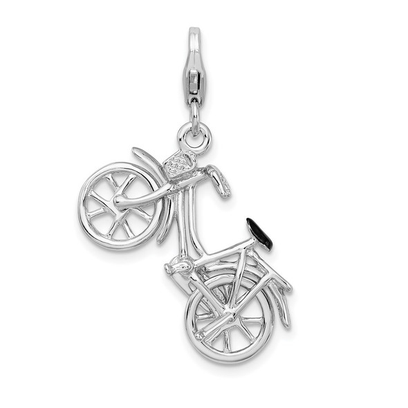Sterling Silver 3-D Enameled Bicycle w/Lobster Clasp Charm QCC487