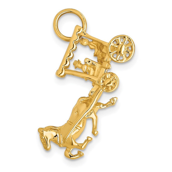 14k Yellow Gold Solid Polished 3-Dimensional Horse and Carriage Charm