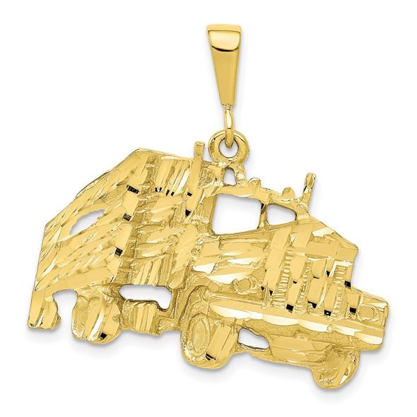 10k Yellow Gold Solid Diamond-cut Semi w/Trailer Charm