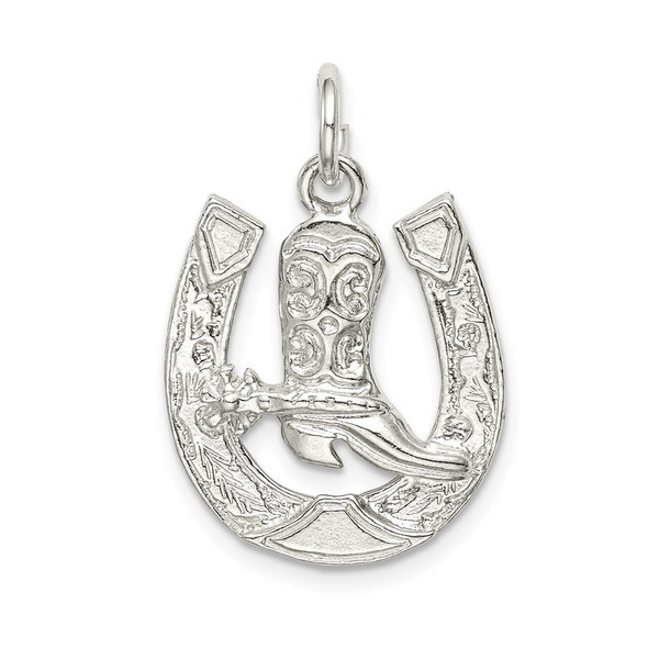 Sterling Silver Horseshoe w/Boot Charm