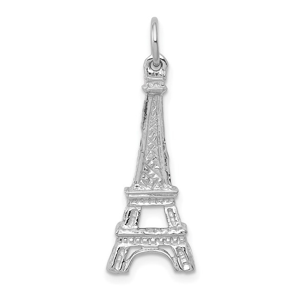 14K White Gold Solid Polished Eiffel Tower Charm
