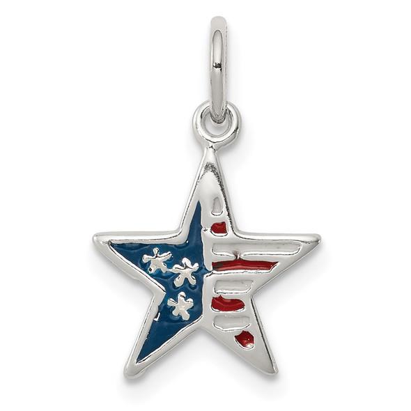Sterling Silver Polished Enamel American Flag Star Charm