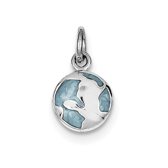Sterling Silver Rhodium-plated Teal Enamel Earth Charm