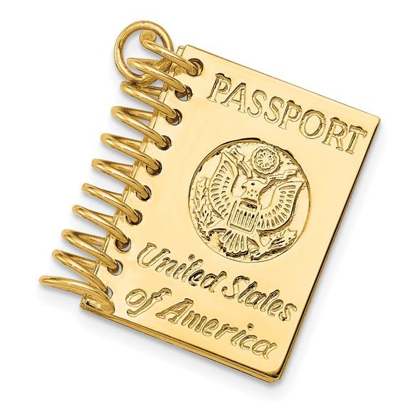 14k Yellow Gold 3D Passport Opens Charm A1548