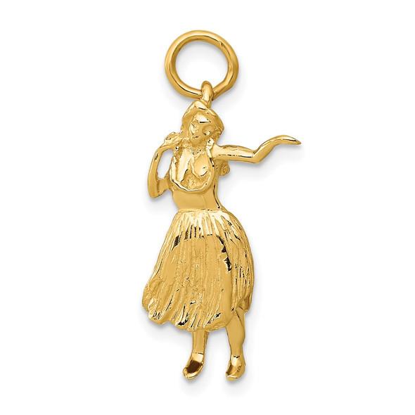 14k Yellow Gold 3-D Hula Dancer Charm