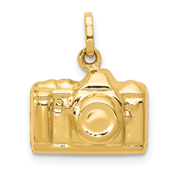 14k Yellow Gold 3-D Polished Camera Charm