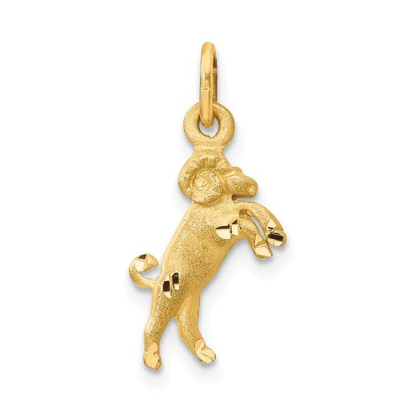 14k Yellow Gold Satin Diamond-cut Aries Zodiac Charm