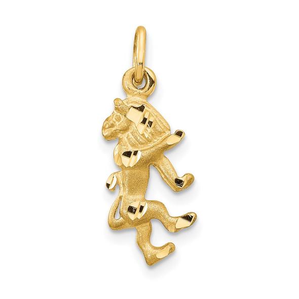14k Yellow Gold Satin Diamond-cut Leo Zodiac Charm C480