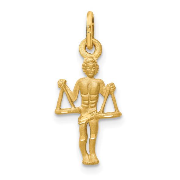 14k Yellow Gold Satin Diamond-cut Libra Zodiac Charm C482