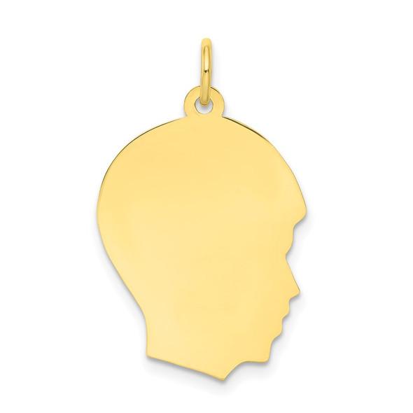 10k Gold Plain Medium .013 Gauge Facing Right Engravable Boy Head Charm 10112/13