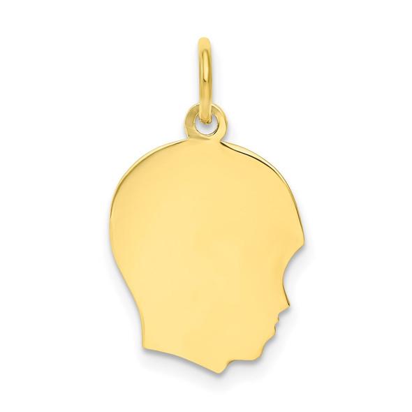 10k Gold Plain Medium .013 Gauge Facing Right Engravable Boy Head Charm 10108/13