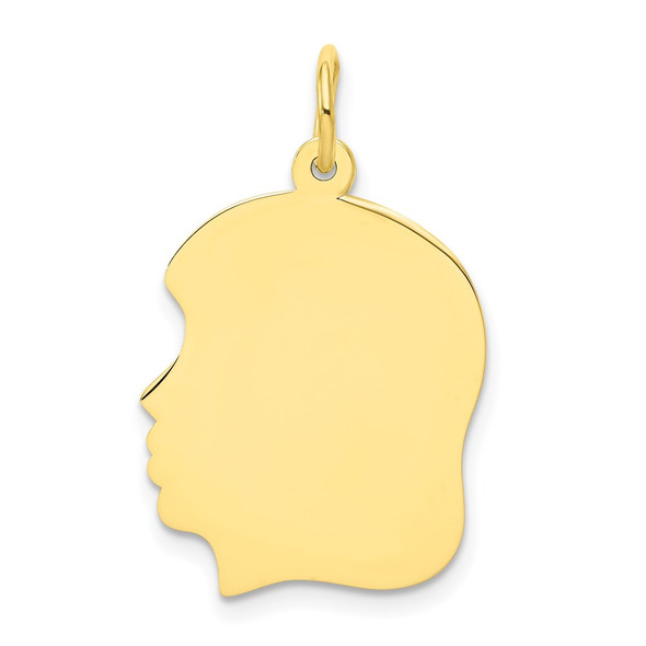 10k Gold Plain Medium .013 Gauge Facing Left Engravable Girl Head Charm 10115/13