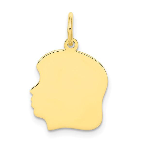 10k Gold Plain Medium .013 Gauge Facing Left Engravable Girl Head Charm 10111/13