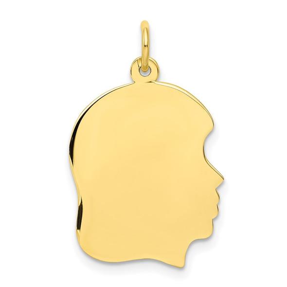 10k Gold Plain Medium .013 Gauge Facing Right Engravable Girl Head Charm 1113/13