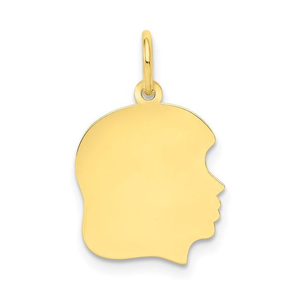10k Gold Plain Medium .013 Gauge Facing Right Engravable Girl Head Charm 1109/13