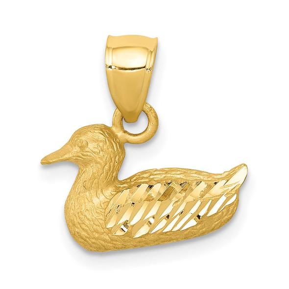 14k Yellow Gold Diamond-Cut Duck Pendant