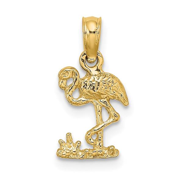 14k Yellow Gold Mini Flamingo Pendant