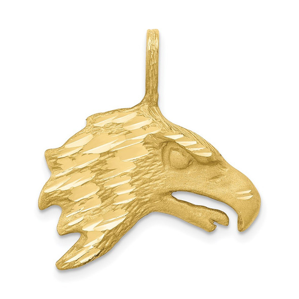 10k Yellow Gold Solid Diamond-cut Eagle Head Pendant 10C616