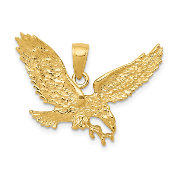 14k Yellow Gold Solid Polished Eagle Pendant C2425