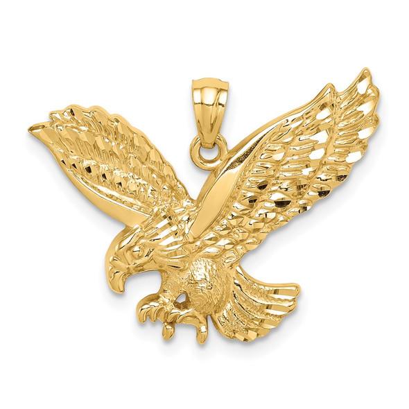 Mens 14k Yellow Gold Diamond-cut Eagle Pendant C4578
