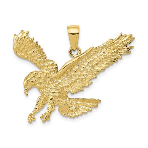 10k Yellow Gold Textured Eagle Landing Pendant