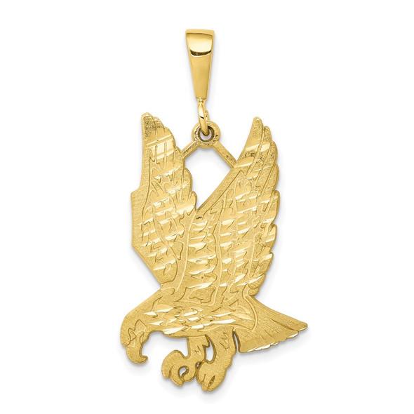 10k Yellow Gold Solid Diamond-cut Eagle Pendant