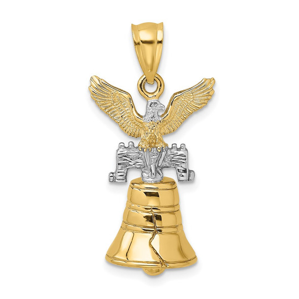 14k Gold 3-D Moveable Liberty Bell w/ Eagle Top Pendant