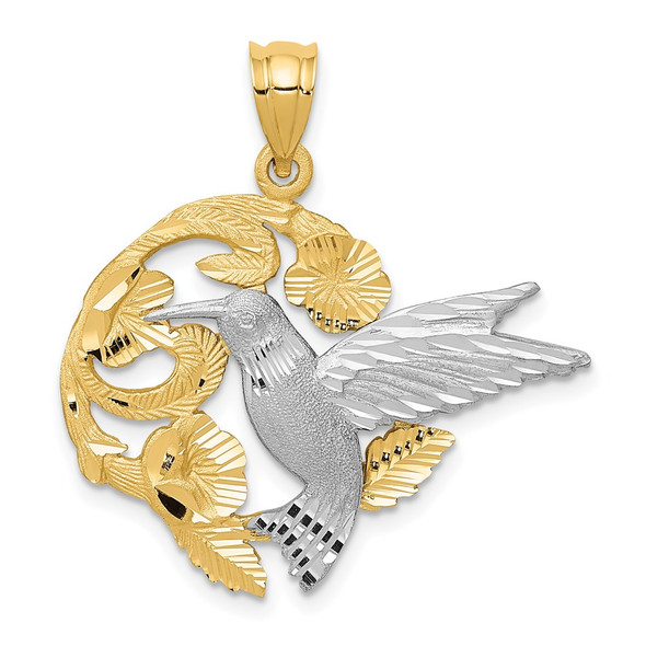 14k Yellow and White Gold Hummingbird Pendant