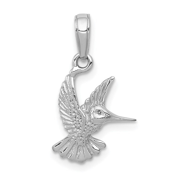 14K White Gold Hummingbird Pendant