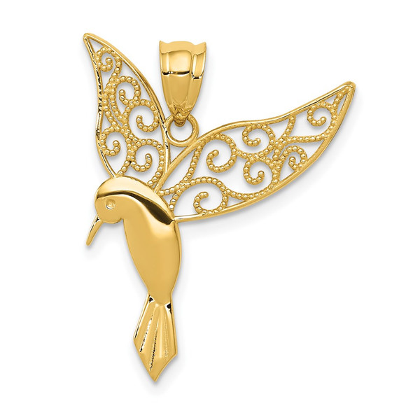 14k Yellow Gold Polished Hummingbird Pendant
