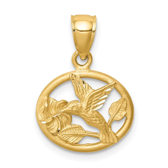 14k Yellow Gold Diamond-Cut Brushed Hummingbird Pendant