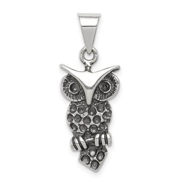 Sterling Silver Antiqued Owl Pendant