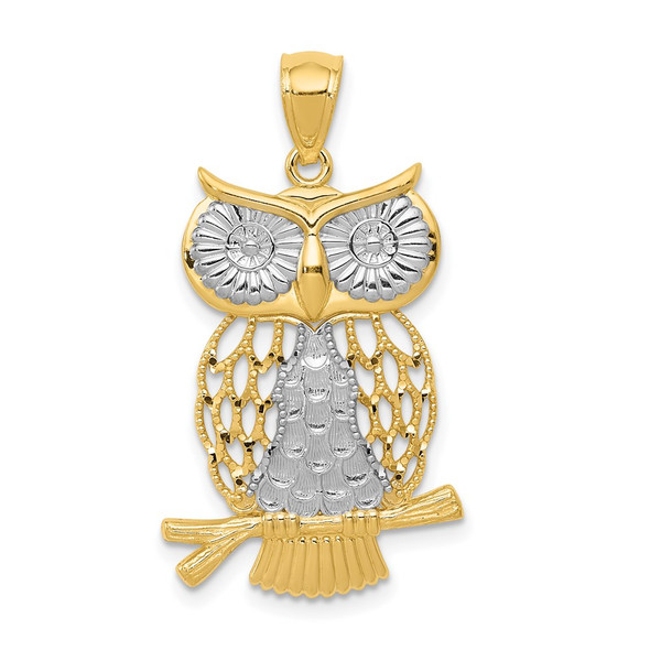 Mens 14k Yellow Gold And Rhodium Diamond-Cut Polished Moveable Owl Pendant