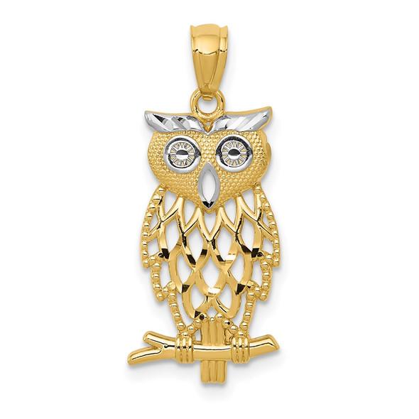 Mens 14k Yellow Gold Rhodium Plated Diamond-Cut Owl Pendant