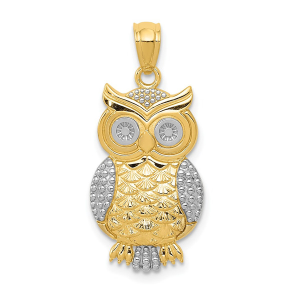 Mens 14k Yellow Gold and Rhodium Polished and Textured Owl Pendant