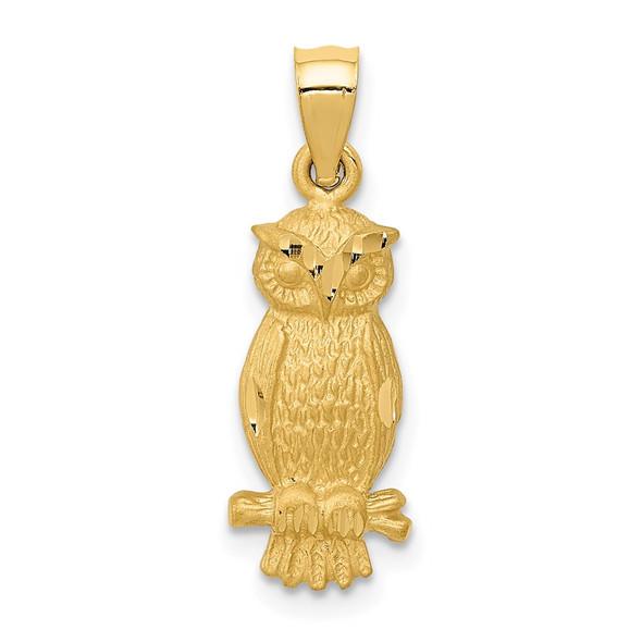 14k Yellow Gold Satin Diamond-Cut Owl Pendant