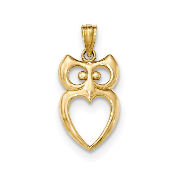 14k Yellow Gold Polished Cut-out Owl Pendant