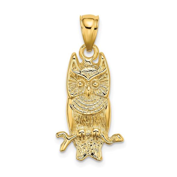 14k Yellow Gold 2-D Textured Owl Pendant