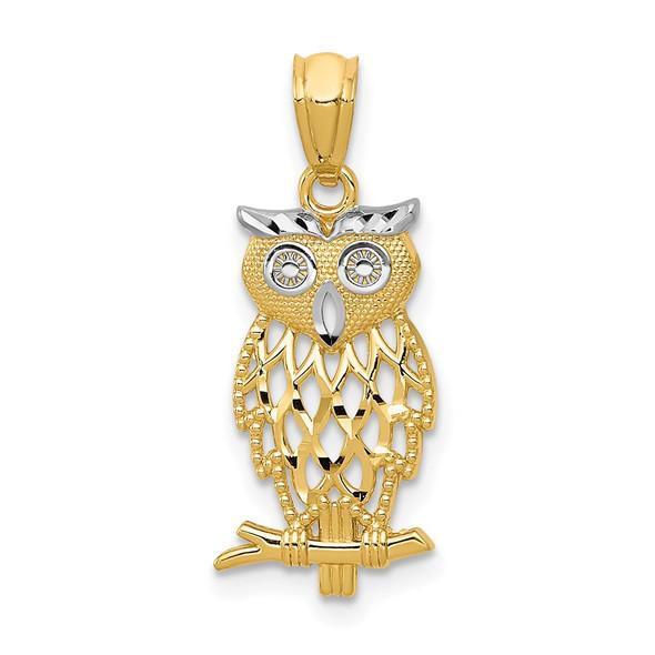 14k Yellow Gold and Rhodium Owl Pendant