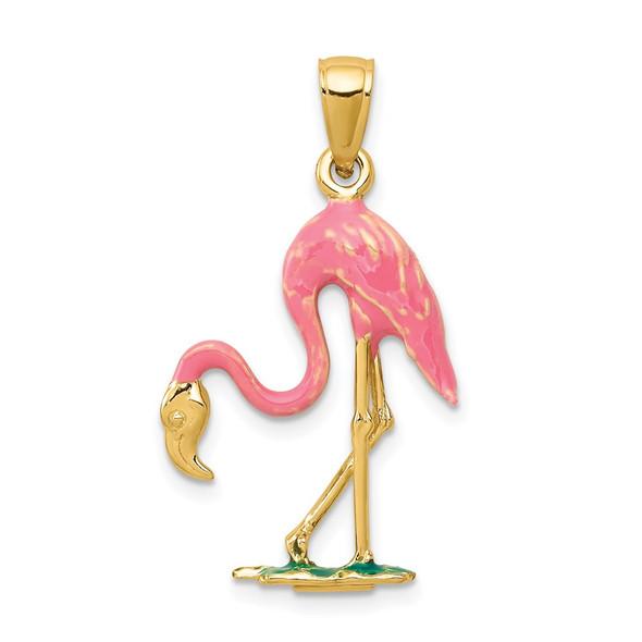 14k Yellow Gold Enameled 3-D Pink Flamingo Pendant