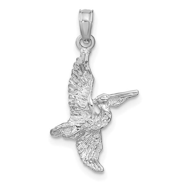 14k White Gold 3-D Pelican Flying Pendant