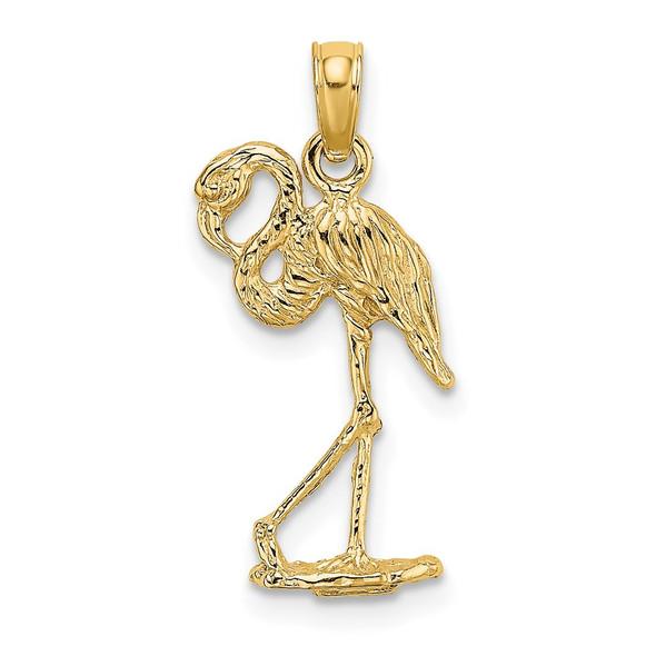 14k Yellow Gold 3-D Flamingo w/Head Up Pendant