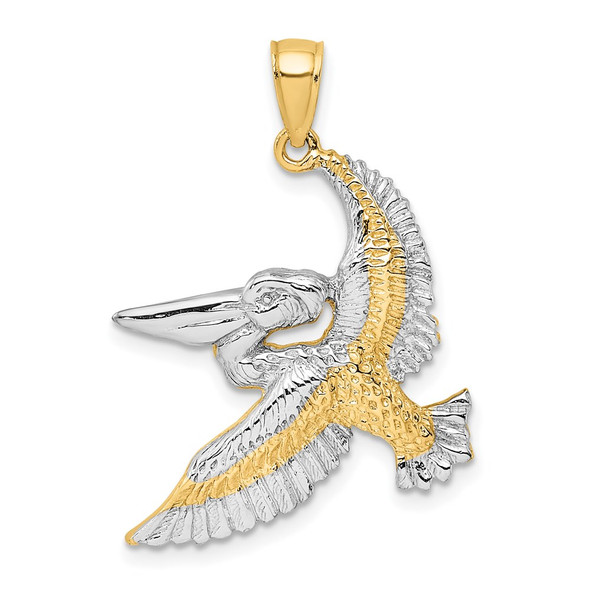 14k Yellow Gold And Rhodium 2-D Flying Pelican Pendant